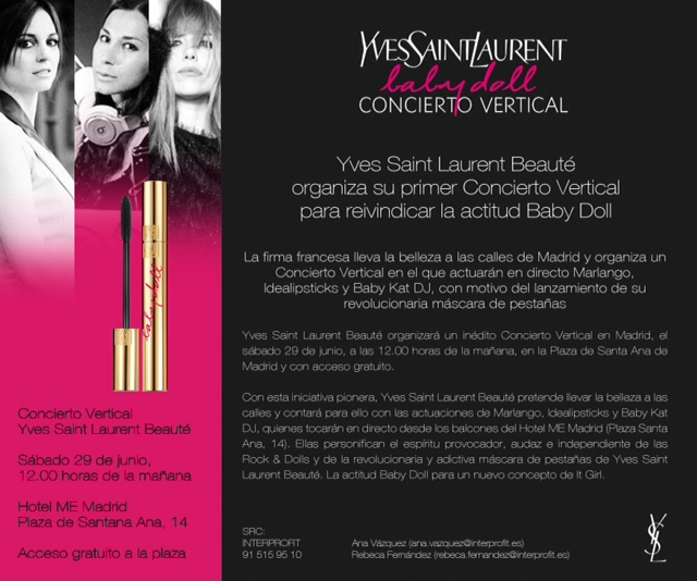 "Concierto Vertical de Yves Saint Laurent Beaute: ""Baby Doll"""