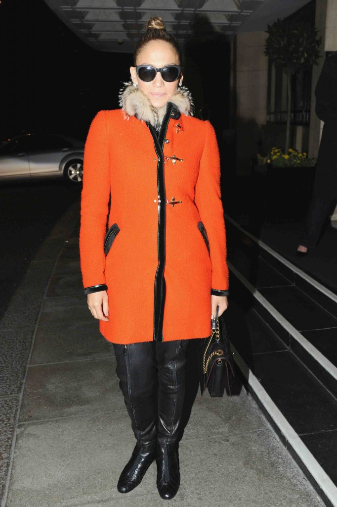 Jennifer Lopez seen leaving the Dorchester Hotel after having dinner with friends in London