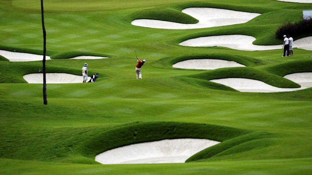 AN UNIDETIFIED GOLF PLAYER COMPETES IN THE MAYBANK MALAYSIAN OPEN GOLF TOURNAMENT