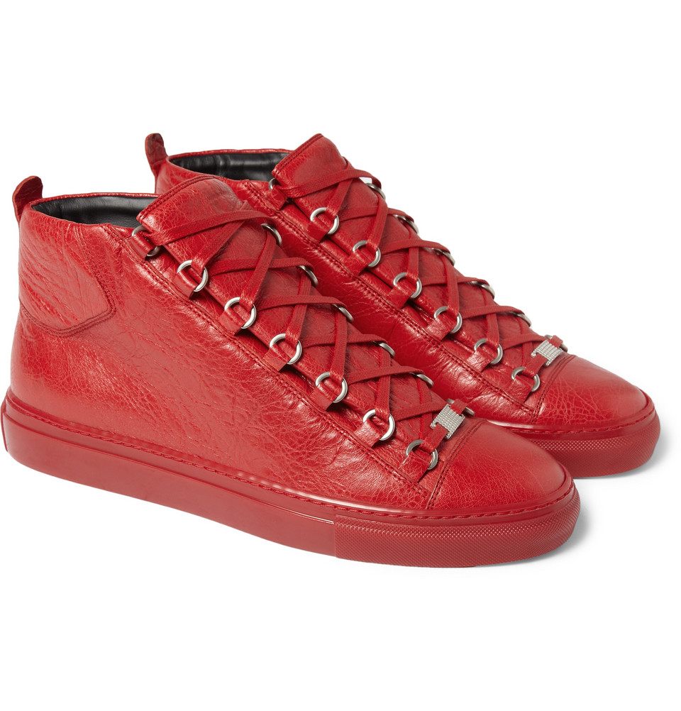 Balenciaga-Creased-Leather-High-Top-Sneakers